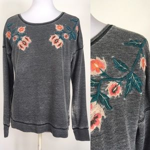 Lucky Brand Distressed Floral Detail Sweatshirt